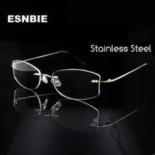 ESNBIE Designers Women Oval Rimless Glasses Frame for Silver Eyeglasses Prescription Eyewear Spectacles Light Weight