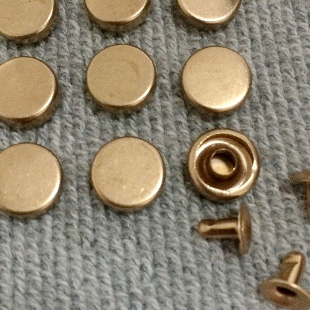 뜨거운 판매 100Pcs 9MM 골드 라운드 평면 리벳 금속 스터드 리벳 명소 원뿔 가죽 공예 스파이크 벨트 가방 신발에 맞게 DIY 만들기