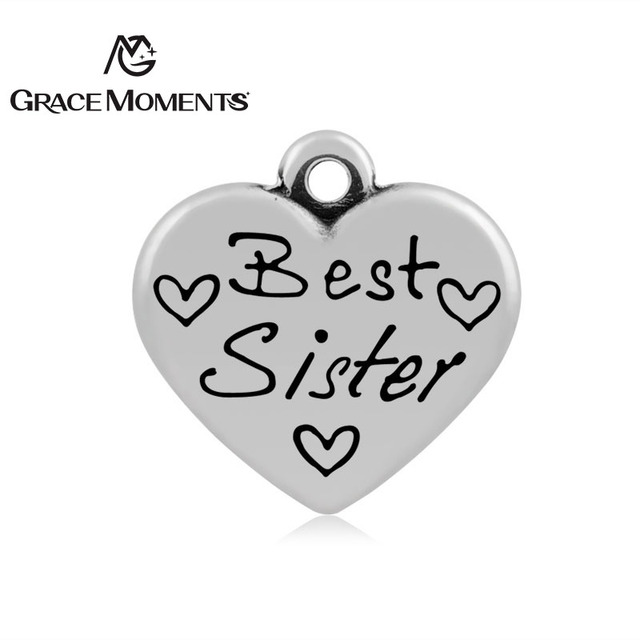 Breloques en acier inoxydable 316L, pendentifs pour la meilleure sœur, pour la fabrication de bijoux, de bracelets, de colliers, cadeau fait à la main, 10 pièces/lot