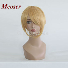 Mcoser VOCALOID-Kagamine Len golden Short Ponytail Cosplay Synthetic Hair Women's Lolita Party full Wigs
