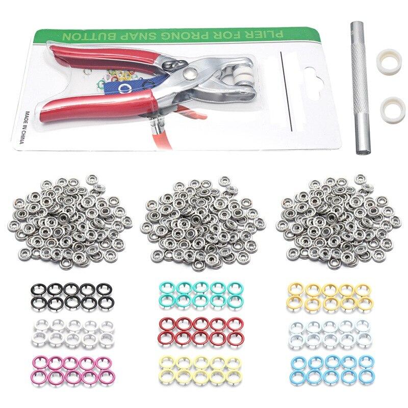 9,5mm 100 Sätze 10 Farben Metall Nähen Tasten Prong Ring Druckknöpfe Druckknöpfe + Clip Zange