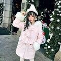 Princesa lolita doce BOBON21 camisola estudante Menina em rosa concurso de lã grossa de malha chapéu AC1442