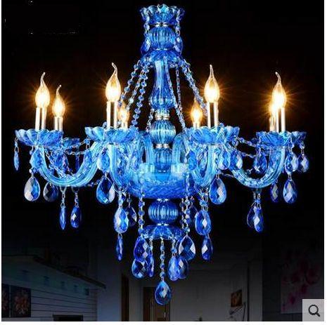 Designer Blue Crystal Chandelier Living Room Dining Light Modern Hotels Royal New Lighting In Pendant Lights From