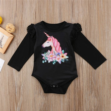 Baby Girl's Long Sleeve Unicorn Patterned Romper