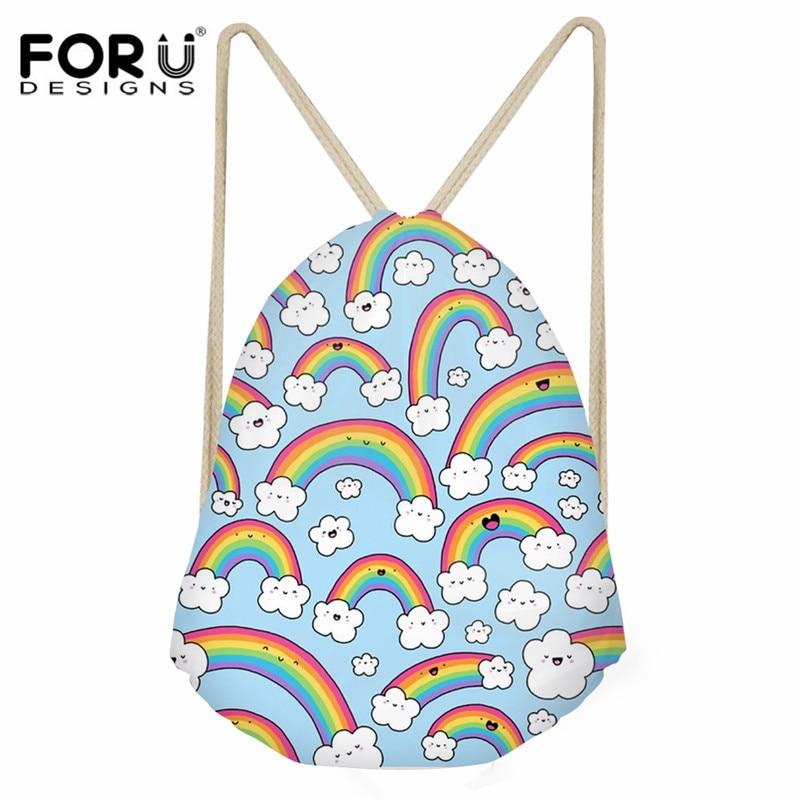 FORUDESIGNS Drawstring Bag Cartoon Rainbows Everywhere! Art Print Kids Casual Backpack Sack Girls Beach Shoes Storage Bag String