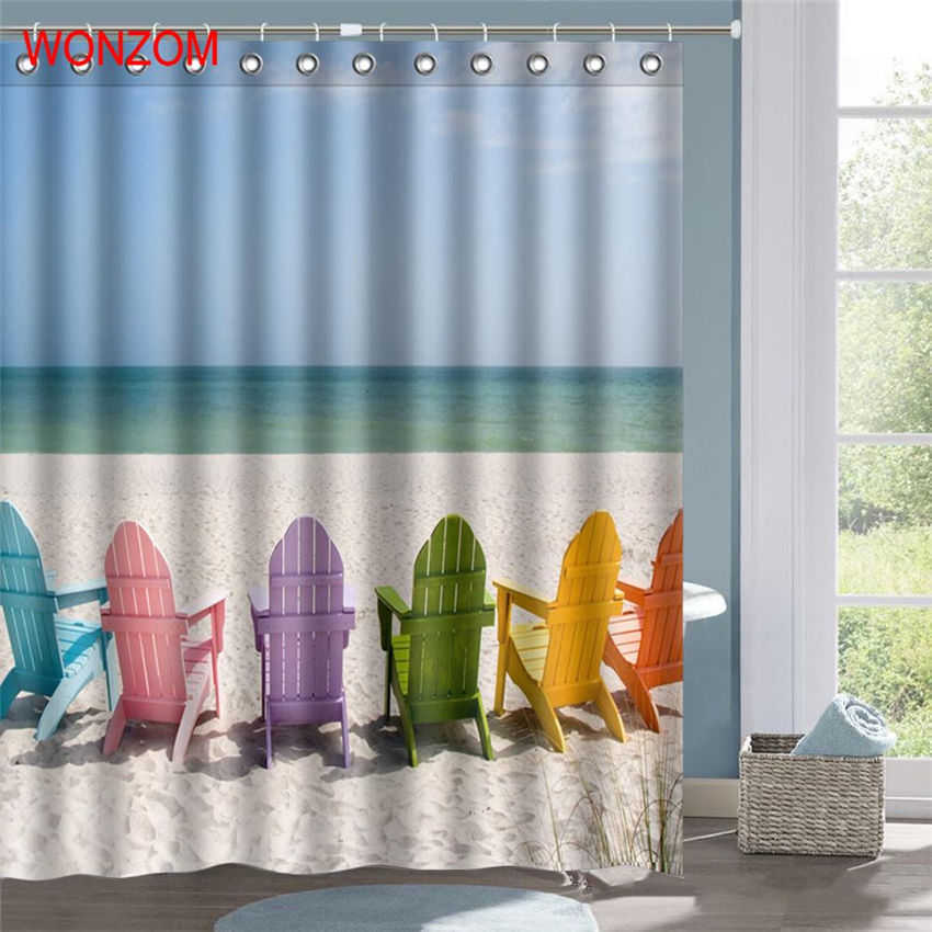 WONZOM Beach Sand Shower Curtain Fabric Bathroom Decor Chair Decoration Cortina De Bano Polyester Sea Bath With Hooks