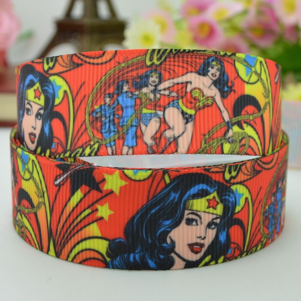 """DUWES 7/"""" 22 мм Wonder Woman Hero напечатанная лента из grosgrain hai rbow DIY ручной работы OEM 50YD"""