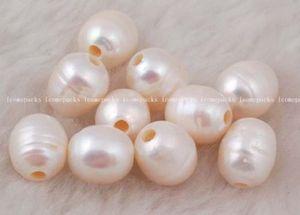 FREE SHIPPING>>>@@ wholesale 30pcs freshwater pearl white beads 9-11mm nature egg big hole