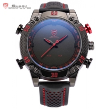 Kitefin Shark Sport Watch Black Red LED Digital Quartz Dual Movement relogio masculino Date Leather Band Gents Wristwatch /SH230