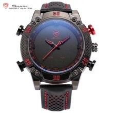 Kitefin Shark Sport Watch Black Red LED Digital Quartz Dual Movement relogio masculino Date Leather Band Gents Wristwatch /SH230
