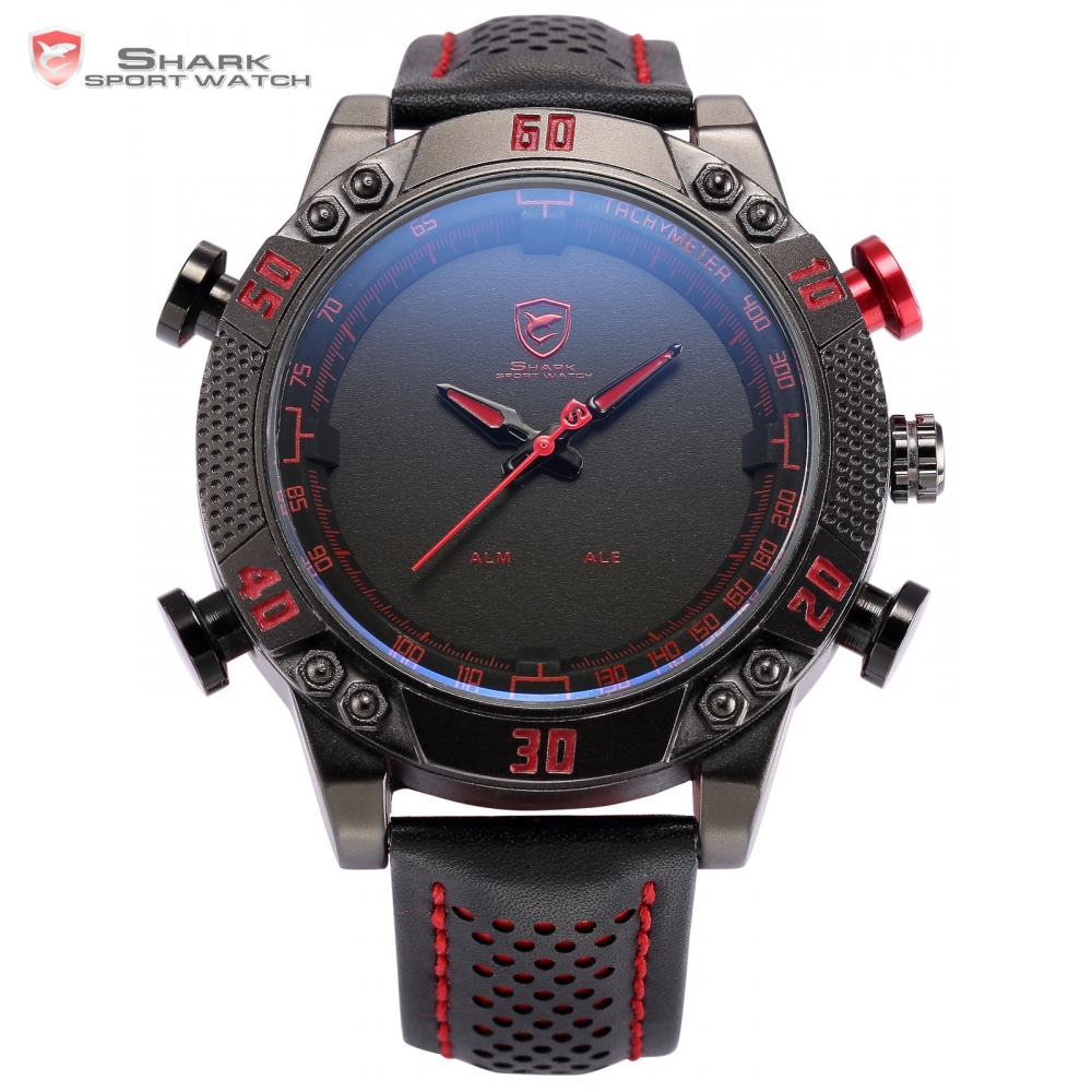 Prix pour Kitefin shark sport montre noir rouge led numérique quartz double mouvement relogio masculino date bracelet en cuir gents montre-bracelet/sh230