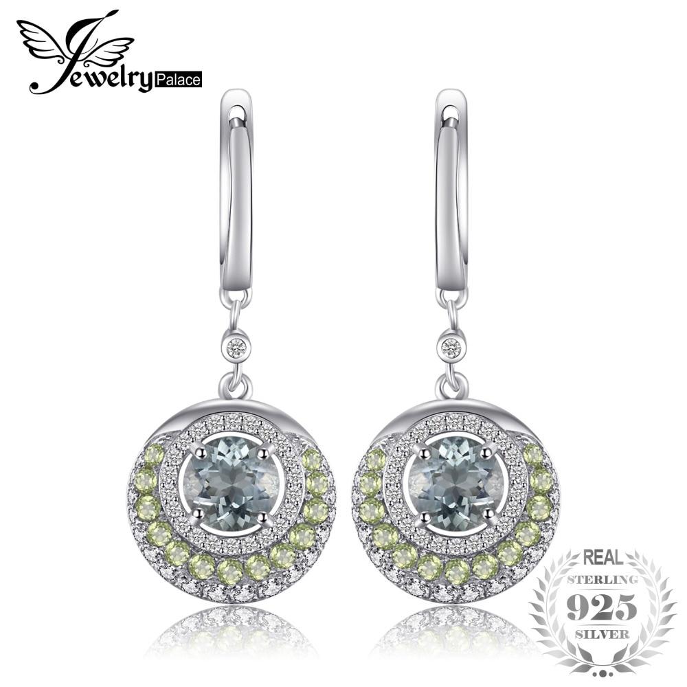 JewelryPalace Genuine Green Amethyst Peridot Dangle Earrings 925 Sterling Silver Fashion Women Fine Jewelry New Arrival цена