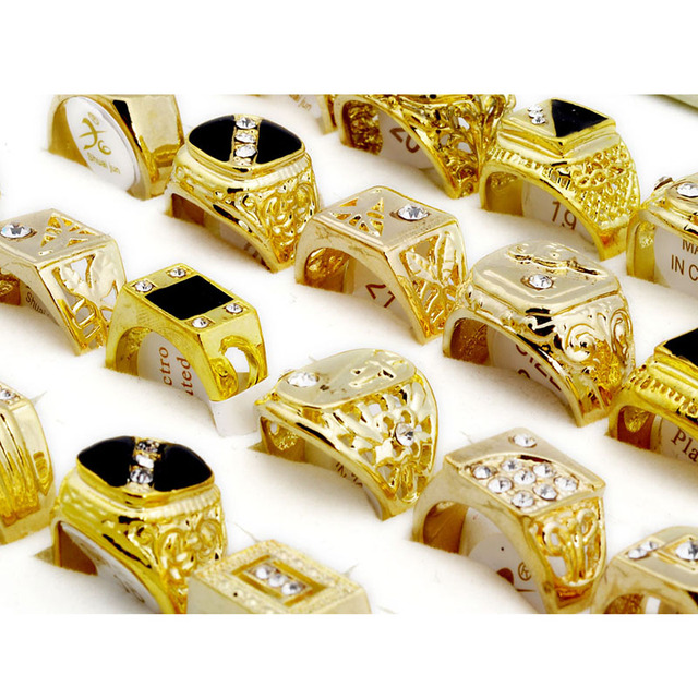 5pcs Fashion Jewelry Men's Gold Color Rhinestone Rings Hot Wholesale Mixed Lots