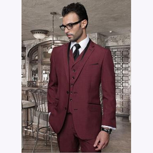 2018 Custom Italian Burgundy Tuxedo Wedding Suits For Men Prom 3