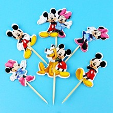 NEW! 24pcs Cartoon Dog Mickey Mouse Minnie Cupcake Toppers pick Party Supplies Kids Birthday Party wedding cake flag Decorations(China)