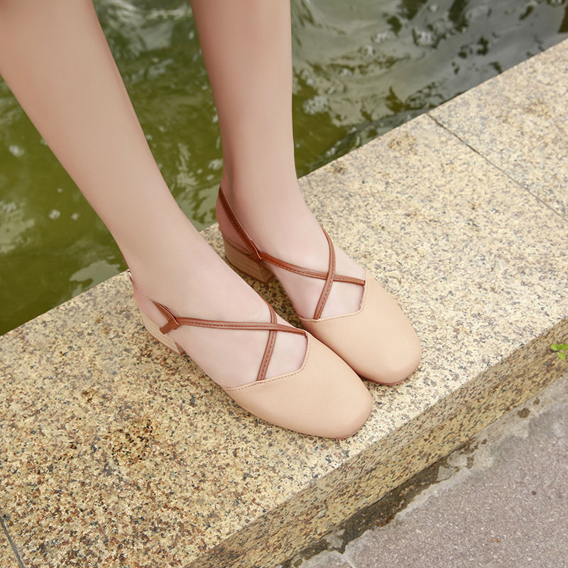 333a62eea9f Ladies walking sandles striped block Square heels flat Sweet Ankle Strap  Shoes Comfortable Soft Sole Summer Sandals Slip on Shoe-in Low Heels from  Shoes on ...