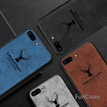 For iPhone 7 8 6 S X XR XS Max Cloth Texture 3D Embossed Deer Cases For iPhone X 6 6S 7 8 Plus Premium Soft TPU Edge Cover Coque(China)