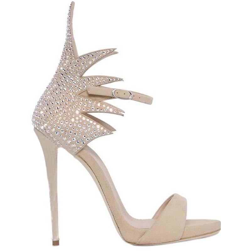 Peep En Super Show Talon Couvercle Haute Nouveau Talons Dame as Été Cristal Toe Supérieur Élégante Femme Chaussures Avec Ruches Show Daim Sandales Mode Partie As wa8v4