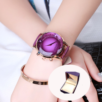 HK GUOU de cuarzo de marca reloj de señora de diamantes de imitación  impermeable reloj de las mujeres de cuero genuino de lujo gran Dial de  regalo de lujo ... 19bf58774707