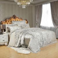 Silver Golden Silk Satin Luxury Bedding Sets juego de cama Bed cover Queen King Size Bed set Duvet Cover Bed Sheet Linens linge