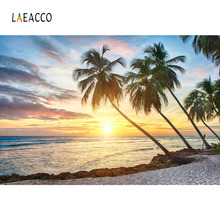 Laeacco Summer Seaside Beach Sunrise Palm Tree Scenic Photography Backgrounds Customized Photographic Backdrops For Photo Studio