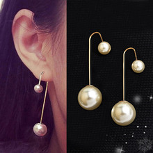 Long pole Double Simulated Pearls Earrings for women Jewelry Rose Gold color drop Earrings Ear Brincos Pending Mujer Bijoux
