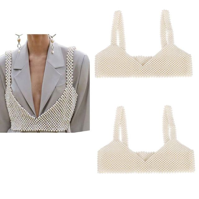 Womens Sexy Handmade Imitation Pearls Beading Crop Top Exterior Vest Hollow Out Grid Camisole Decoration Night Party Clubwear 4