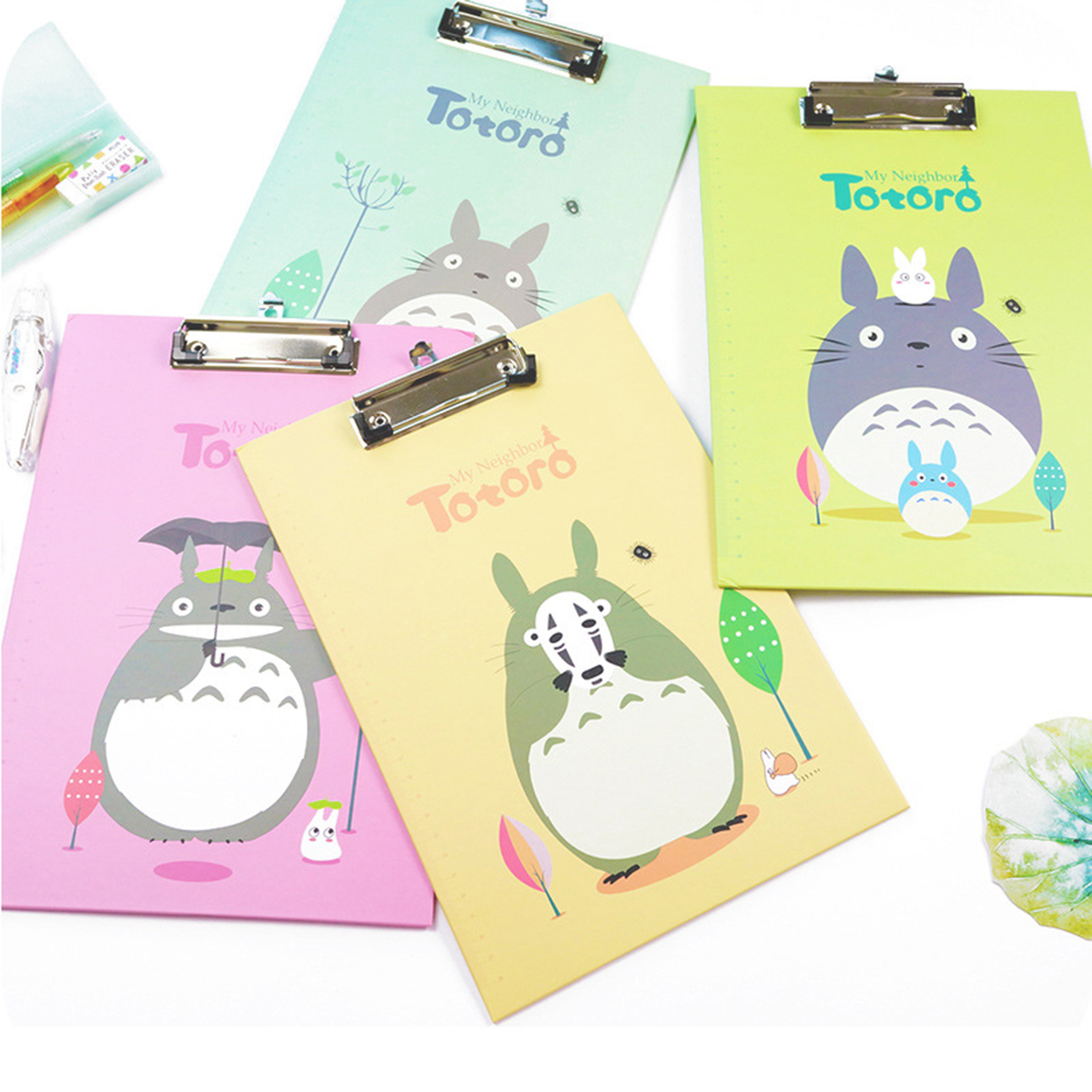 Creative Totoro Folder Student Papers A4 File Folder Writing Board Clip File Kids Gift School Office Supplies free shipping 6 volcaloid hatsune miku with guitar ver boxed 14cm pvc action figure collection model doll toy figma 200