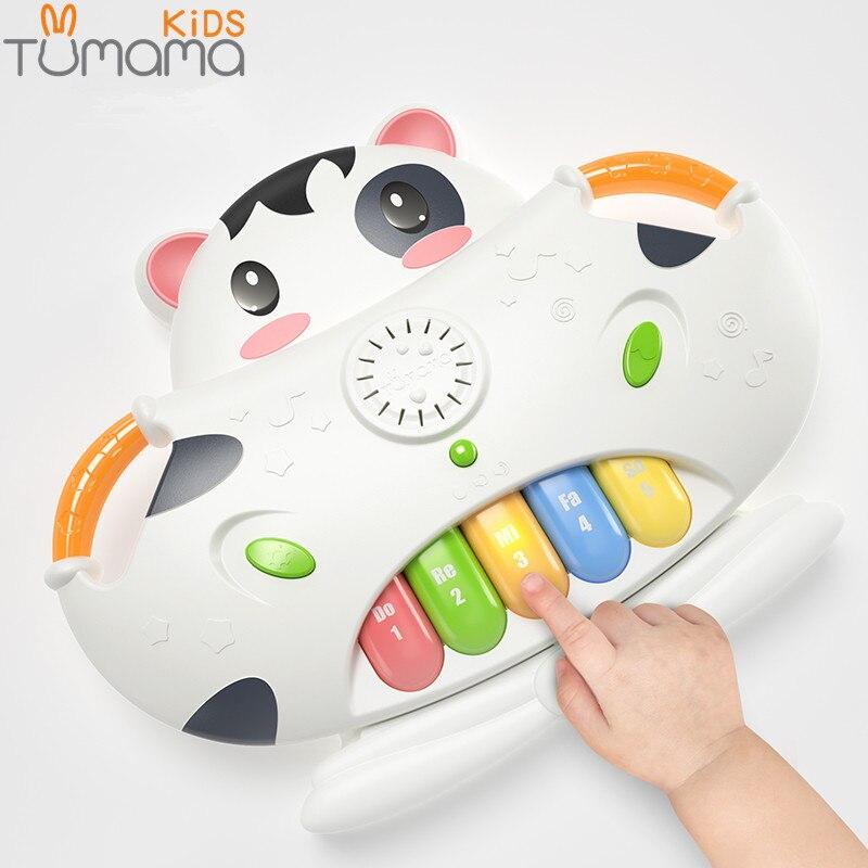 Tumama  Baby Piano Music Toy Cow Electronic Organ Songs Piano key Geometric Blocks Sorting Hamster Pairing Box Baby Music Toys