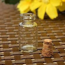 100 sztuk puste jasne małe szklane butelki fiolki pojemnik z korkami słoiki 0.5/1/1.5/2/2.5/5 ml