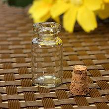 100PCS Vuoto Chiaro Bottiglie di Vetro Piccolo Fiale Contenitore con Tappi di Sughero Vasetti di 0.5/1/1.5/2/2.5/5 ml