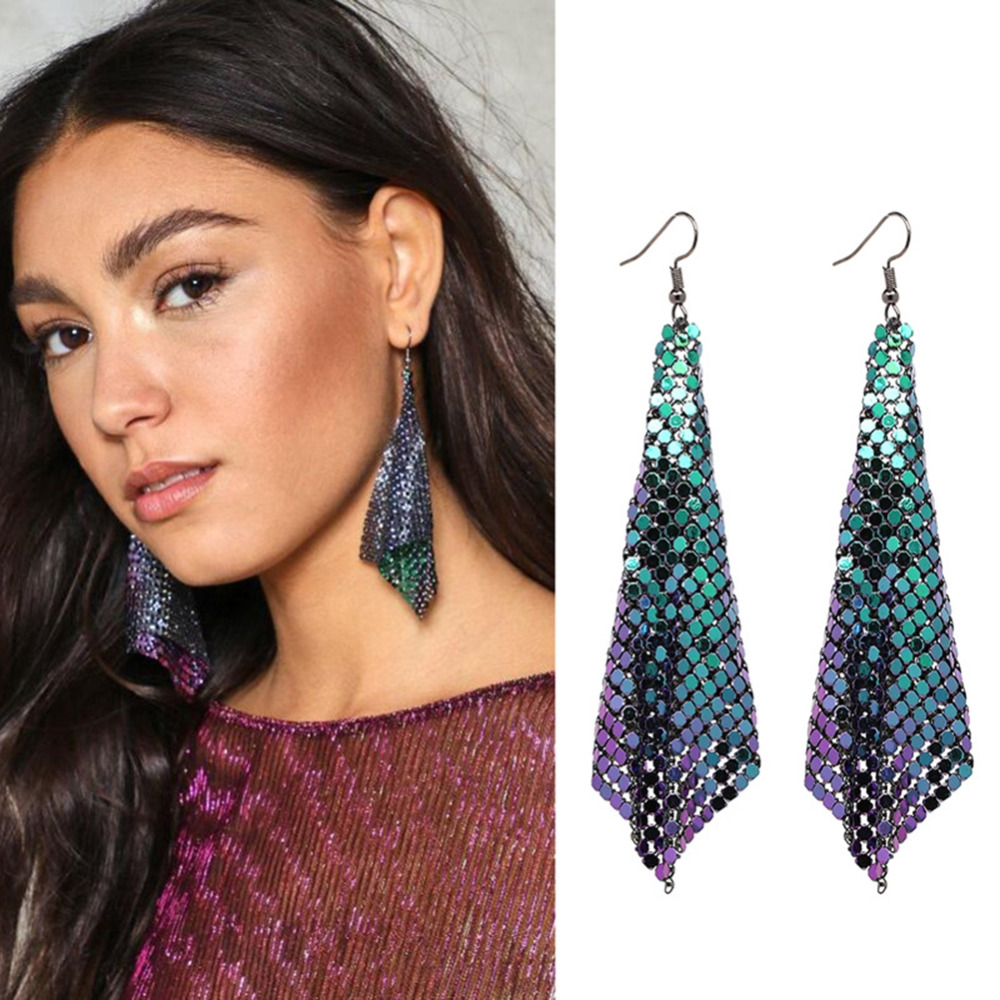 2017 New fashion party jewelry statement Free Fall Holographic Chainmail Earrings fashion earring for women