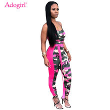 Adogirl Women Camo Jumpsuit Sexy Spaghetti Straps Rompers Night Club Overalls Female Fitness Outfits Summer Siamese Trousers(China)