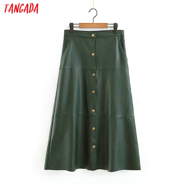 Tangada women green female PU leather skirts rivet a line button ladies korea chic retro mid calf length skirts 3Z06