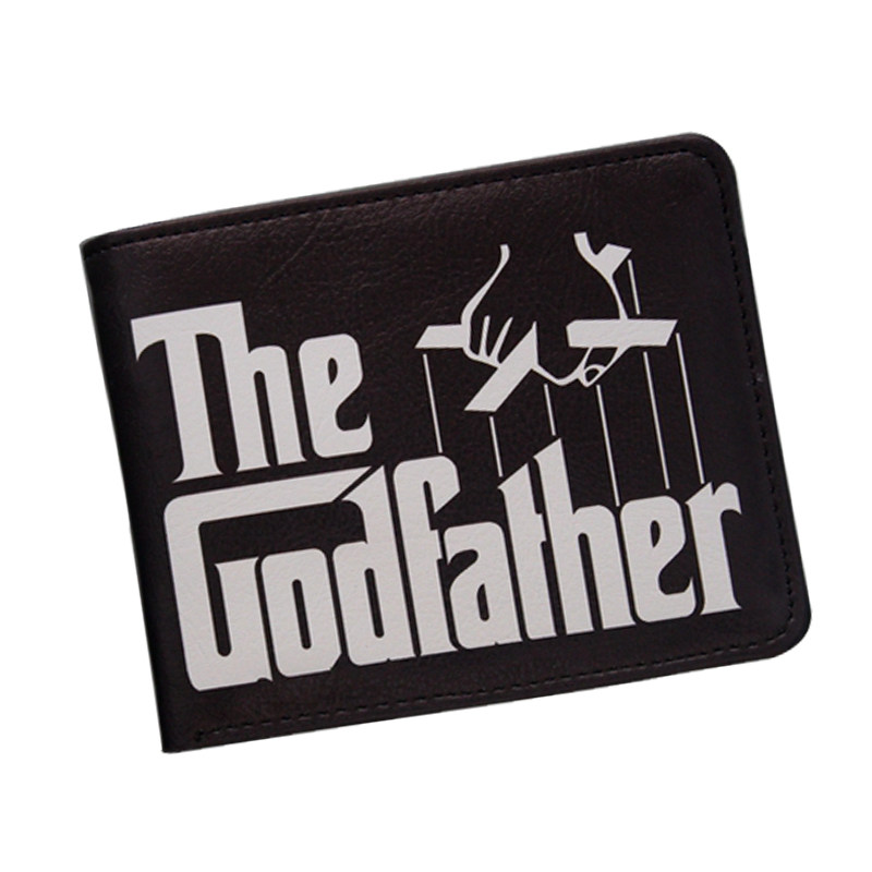Cool Movie Godfather Wallet For Men Vintage Letter Printing Short Leather Wallets Bifold Dollar Money Bag ID Card Holder Purse dc movie hero bat man anime men wallets dollar price short feminino coin purse money photo balsos card holder for boy girl gift