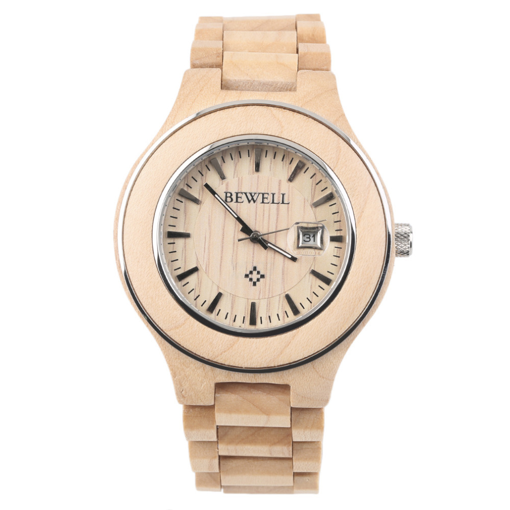 Bewell 2017 New W100A Wooden Grain wristwatch Men Women Lover Couple Maple Wood Calendar Quartz Wrist Watch Gift Vintage Style characteristics gift spun gold wood golden couple wedding gift j new guaranteed 100% chinese