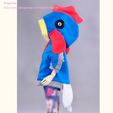Fashion coat with hat for 1 4 BJD doll blue and red jumpers for female dolls