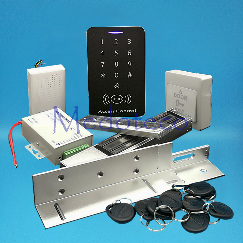 Full 125khz Rfid Card Wood Metal Door Access Control System Kit EM Card Access Controller +600lbs Magnetic Lock + ZL Bracket full no keypad 125khz rfid card door access control system kit em id card access controller 350lbs magnetic lock zl bracket