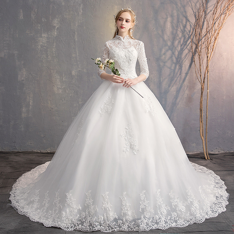 Do Dower New Elegant High Neck Wedding Dress Three Quarter Lace Flower Bride Ball Gown With