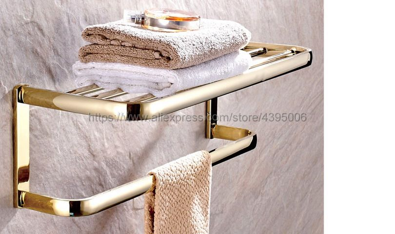 Luxury Gold Bathroom Brass Clothes Towel Racks Shelf Towel Storage Holder Wall Mounted Bathroom Accessories Bba841 wall mounted towel racks antique brass and black bathroom accessories solid brass towel shelf classic