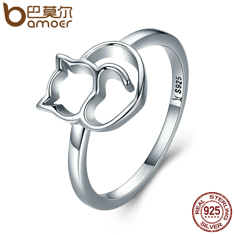 BAMOER Authentic 100% 925 Sterling Silver Naughty Little Cat & Heart Finger Ring for Women Sterling Silver Jewelry Gift SCR104 25 style 925 sterling silver ring charm princess crown flower heart silver charms finger ring for women jewelry