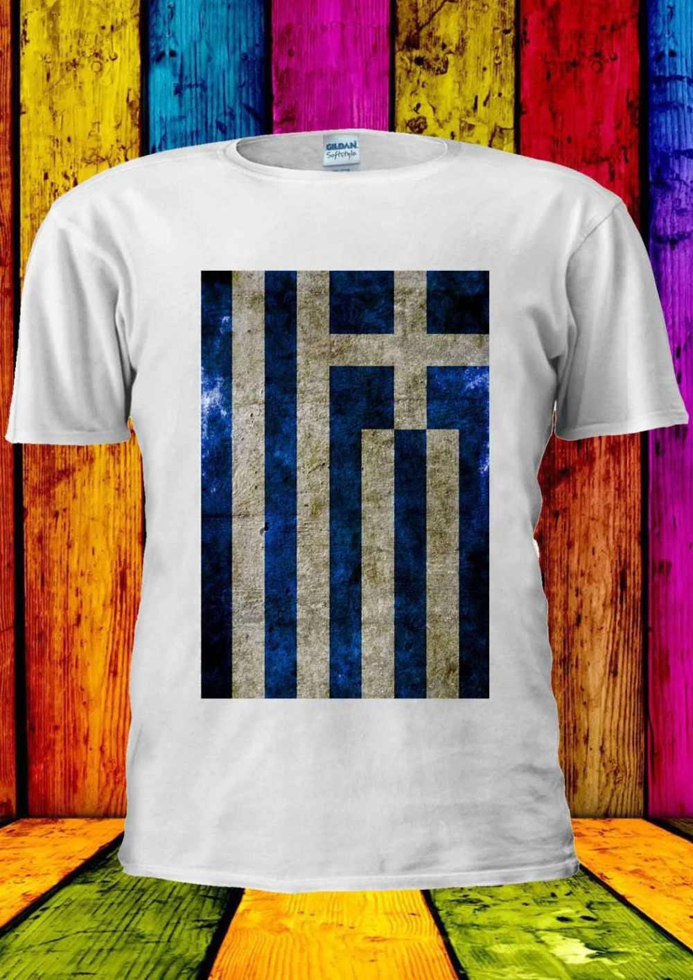 Летняя мужская Повседневная мода греческий флаг Винтаж Афины Футболка Топ