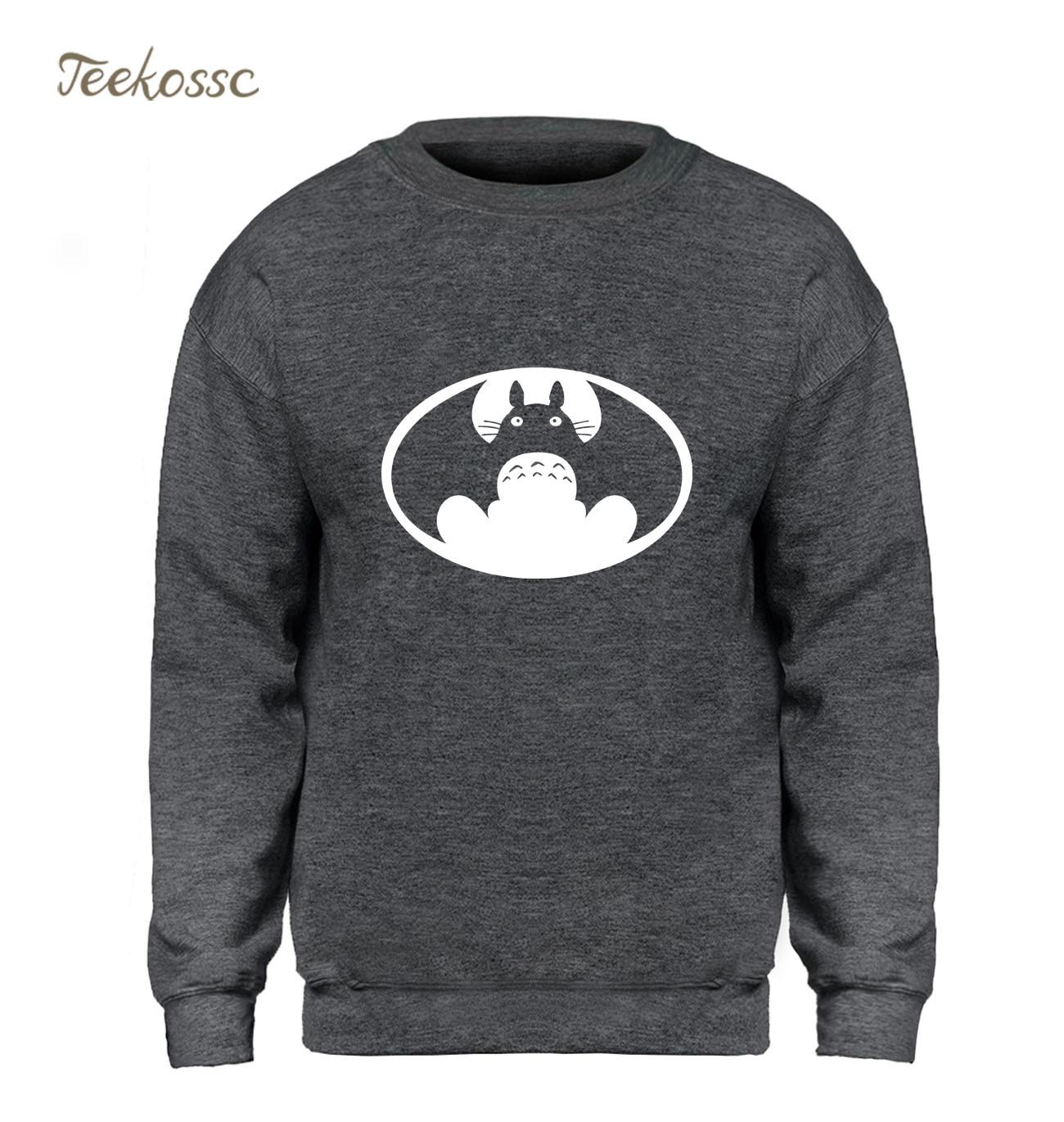 Japan Anime Totoro VS Batman Sweatshirt Men Super Hero Hoodie Sweatshirts New Design Fleece Harajuku Streetwear Brand Clothing