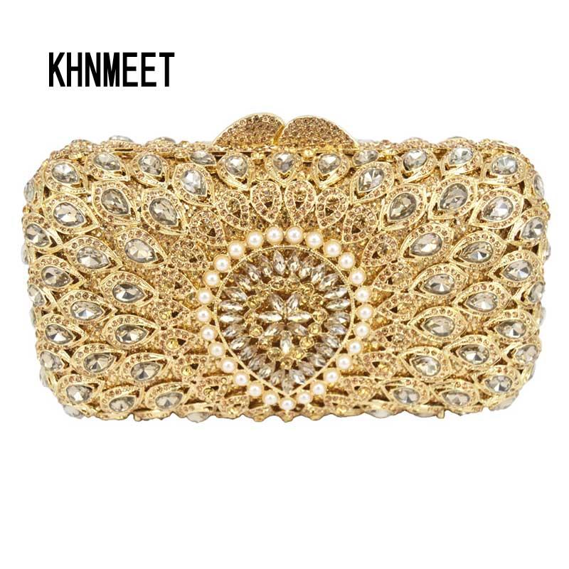 LaiSC Gold Evening Bag Luxury diamond Clutch Party Purse Wedding Dinner pouch studded Banquet bag SC223