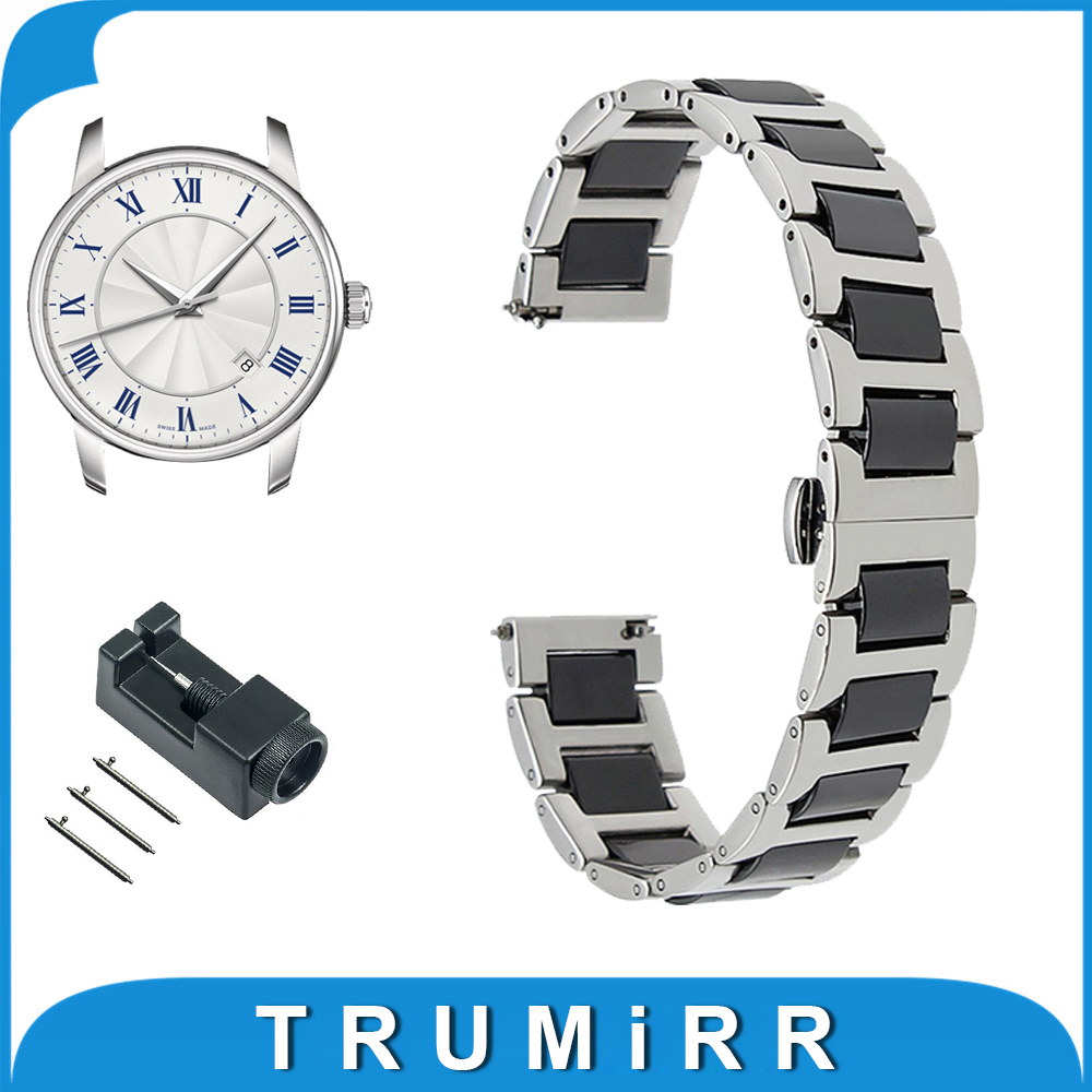 18mm 20mm 22mm Ceramic + Stainless Steel Watch Band for Mido Butterfly Buckle Strap Quick Release Wrist Belt Bracelet + Tool 18mm 20mm 22mm stainless steel watch band quick release pins for seiko replacement strap wrist belt bracelet black gold silver