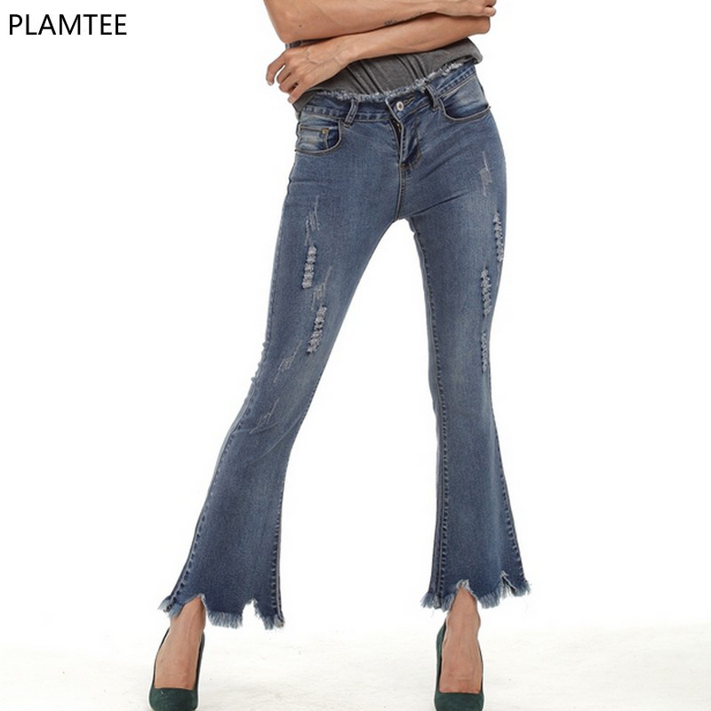 New 2017 Tassel Flared Womens Jeans Pants Fashion Spring Summer Broeken Dames Jeans Plus Size s-5xl Slim Wild Female Denim Jeans s xl 2016 new summer