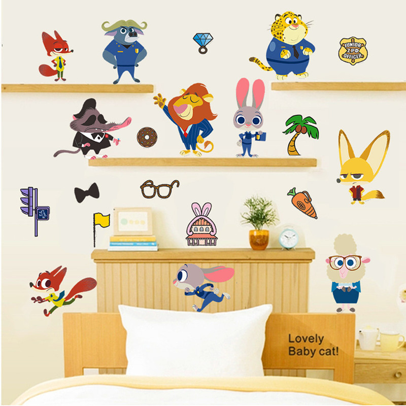 Zootopia Nursery School Vinyl Wall Decals Crazy Animal City Anime Xpress Stickers For Kids Rooms Decoration