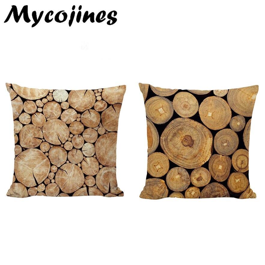 Arbre croissance anneau imprimé coton housse de coussin en bois naturel Design Liene 43*43 cm taie d'oreiller décoration cadeau taille housse de coussin
