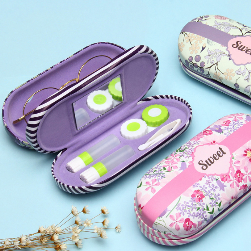 2019 Hot High - Grade Double Interlayer With Mirror Metal Contact Lens Case Box Dual Purpose Leather Woman Reading Glasses Case
