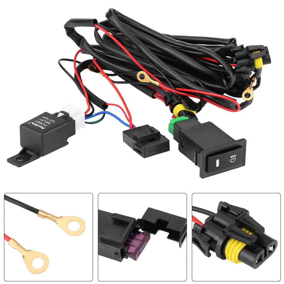 New Wiring Harness Kit Fuse Relay Switch 12v Universal Car Led Fog Light On Off Styling In Switches Relays From Automobiles Motorcycles